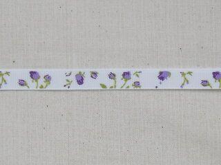 Ripslint bloemetjes off white paars/groen 9 mm (22383/09-183)*