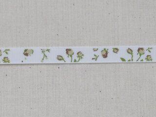 Ripslint bloemetjes off white beige/bruin/groen 9 mm (22383/09-988)*
