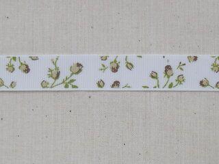 Ripslint bloemetjes off white beige/bruin/groen 16 mm (22383/16-988)*
